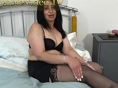 Milf CandyLips on Black Skivvies Masterbating herself on Bed