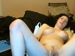 pale white girl brandishes thick huge dildo   - combocams.com