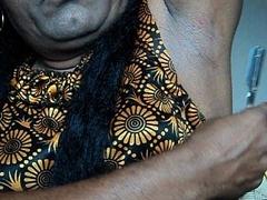 Indian girl fall asleep armpits hair by straight razor..AVI